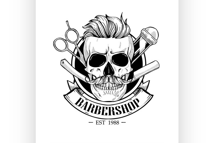 Barbershop logo, angry sticker with skull example image 1