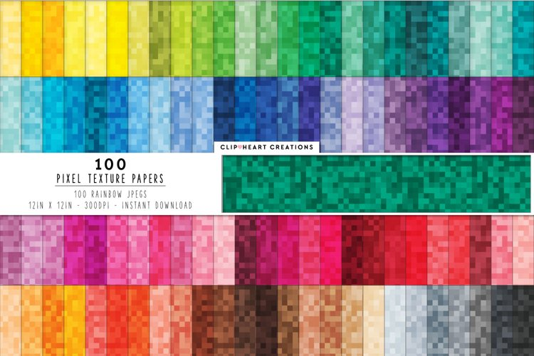 100 Pixel Pattern Digital Papers in Rainbow Colors example image 1