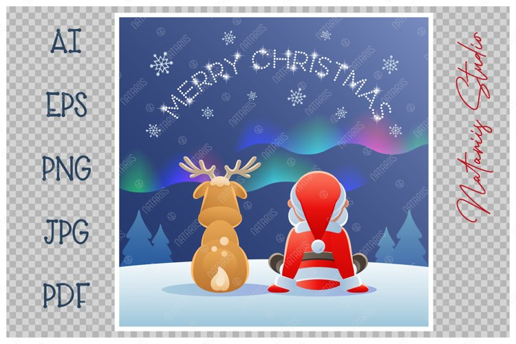 Cute Santa Claus and Reindeer watching the Northern Lights. example image 1