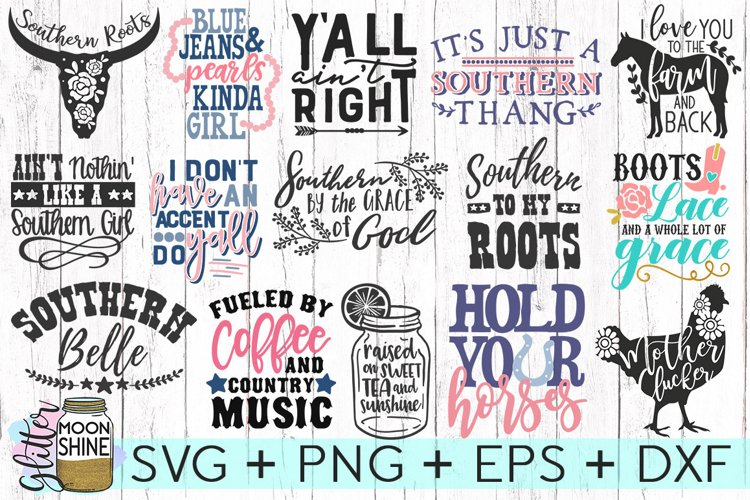 Southern Girl Bundle of 24 SVG DXF PNG EPS Cutting Files - Free Design of The Week Design0