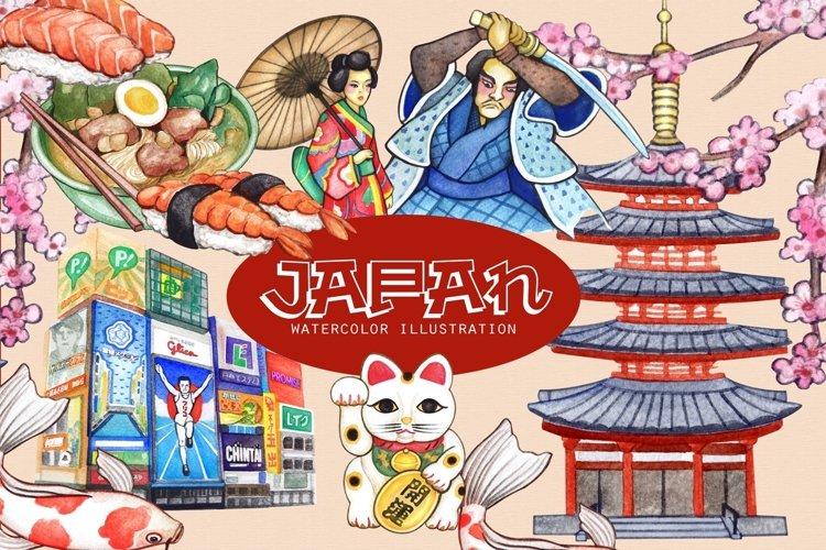Japan Travel Watercolor cliparts I Maneki neko by Whimseez