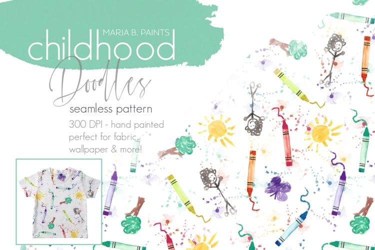 Childhood Crayon Doodles Seamless Pattern Design example image 1