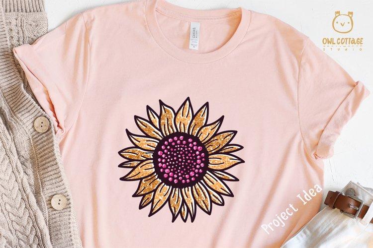 Golden Glitter Sunflowers Sublimations mini Bundle, Sunflowe example 8