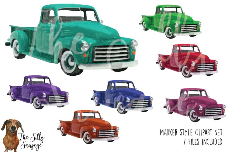 Vintage Trucks Marker Style Clipart example image 1