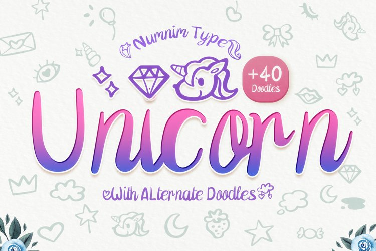 Unicorn - girl handwritten kid font with alternated doodles