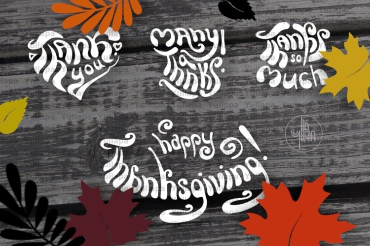 Thanksgiving day clip art, Thank you letterings, SVG, PNG example image 1