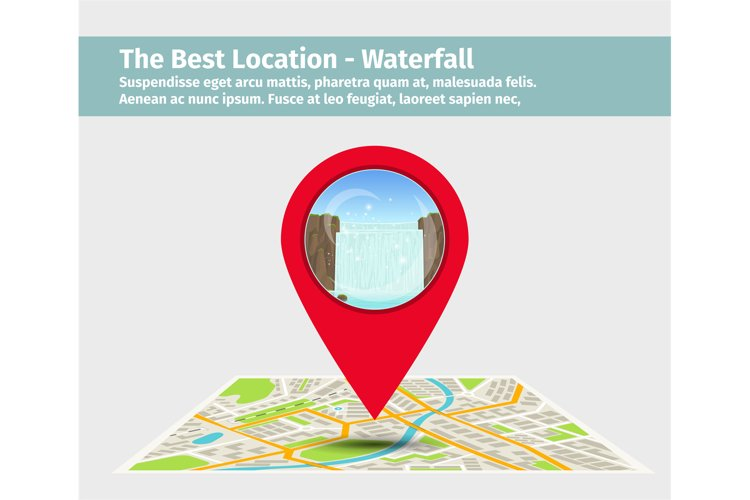 Point on the map with waterfall example image 1