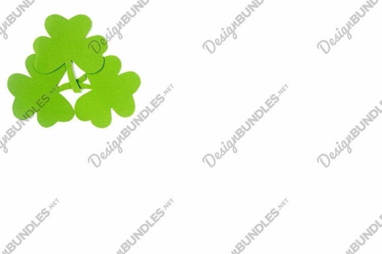 St patricks day background, flat lay. Green clover leaves example image 1