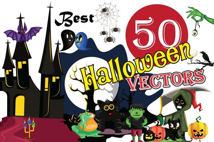 50x Halloween vectors and cartoon high quality illustrations