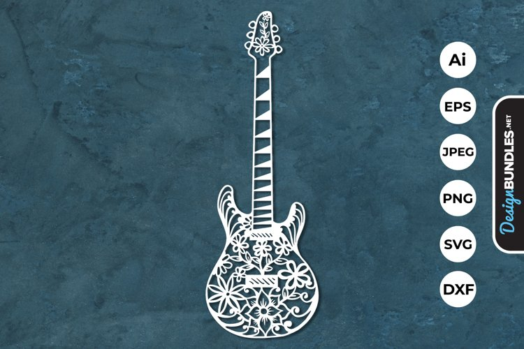 Floral Guitar Papercut SVG example image 1