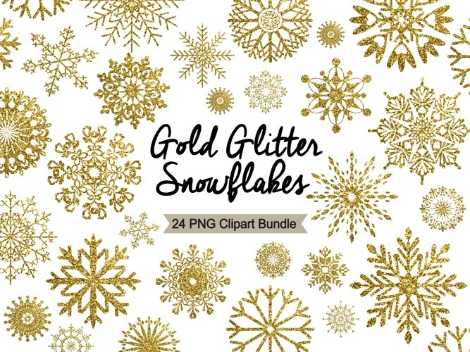 Snowflake Clipart - Gold Glitter