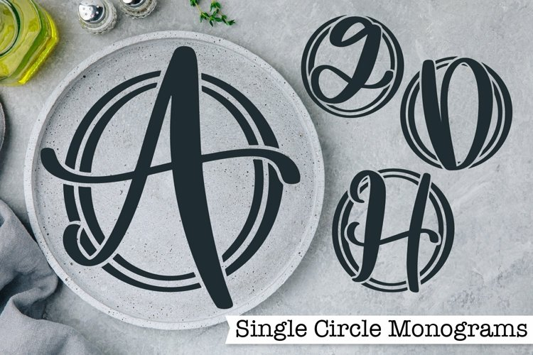 Web Font Single Circle Monograms - A-Z Letters example image 1