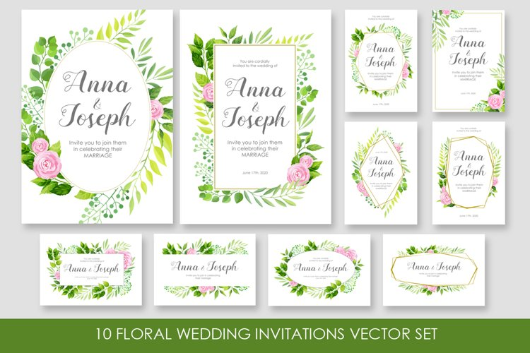 Floral wedding invitations vector set example image 1