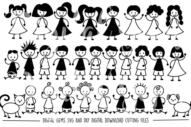 Stick People SVG / DXF / EPS / PNG Files - Free Design of The Week Font