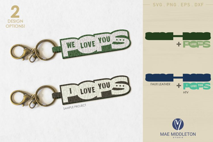 Love you Pops | Faux Leather Keychain Template