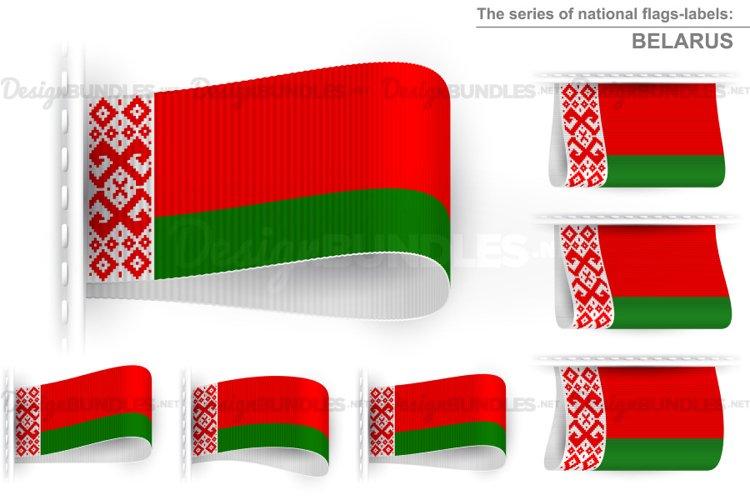 Vector Belarus Flag Tag Clothes Label Sticker Sewn Set