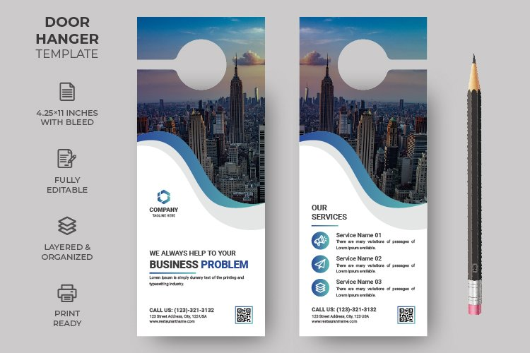 Business Corporate Door Hanger design template example image 1