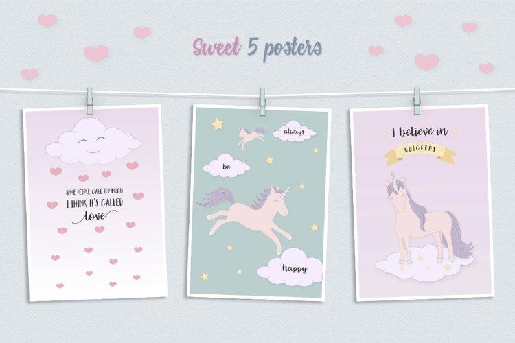 Cute Funny Unicorn Illustration Set - Free Design of The Week Design1