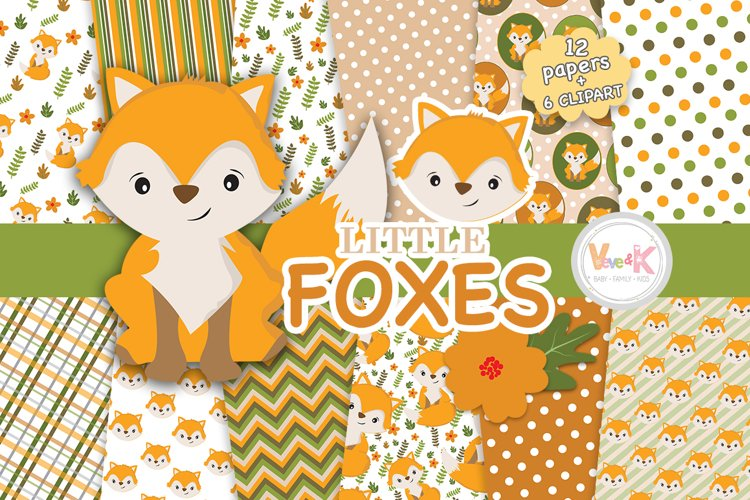 Fox Digital Papers, Fox Clipart, Fall Digital Papers, Forest Creatures, Forest Critters, Woodland Digital Papers, Foxes,