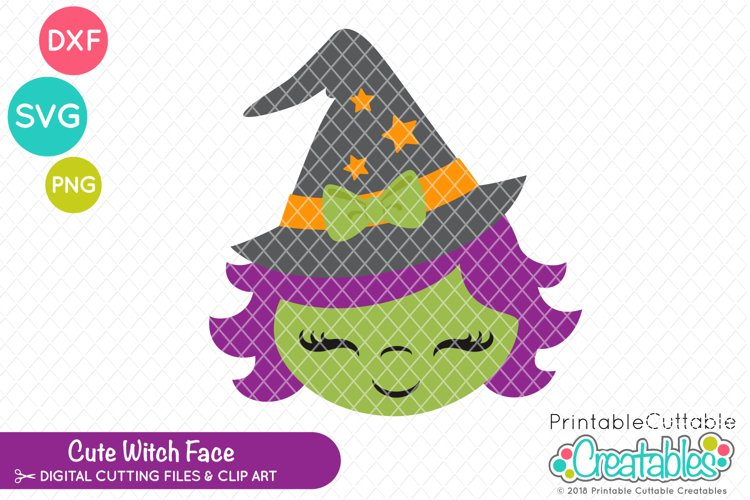Cute Witch Face SVG example image 1