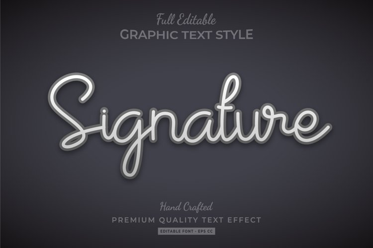 Signature 3d Text Style Effect Premium Vector example image 1