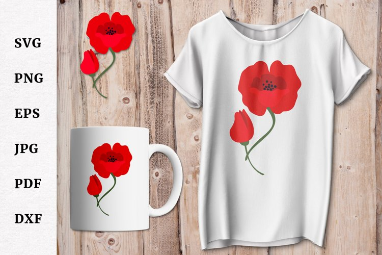 Remembrance Day Poppy Flower SVG Design Cut file example image 1