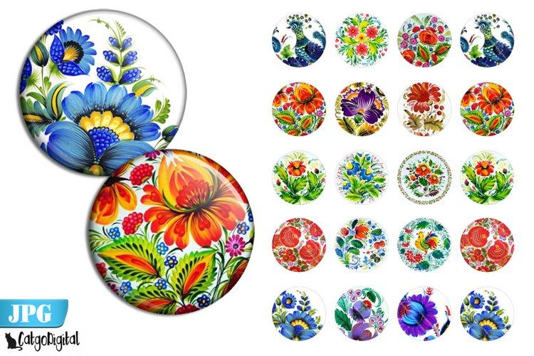 Khokhloma Folk Art bottle cap printable circle images