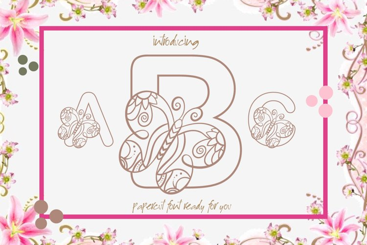 Butterfly Alphabet A Cute Papercut Style Colouring Book Font example image 1