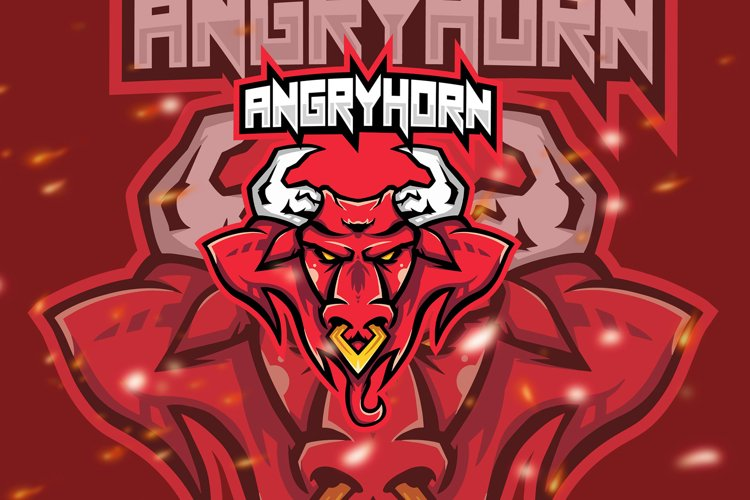 Angry Horn Animal Esport Gaming Logo example image 1