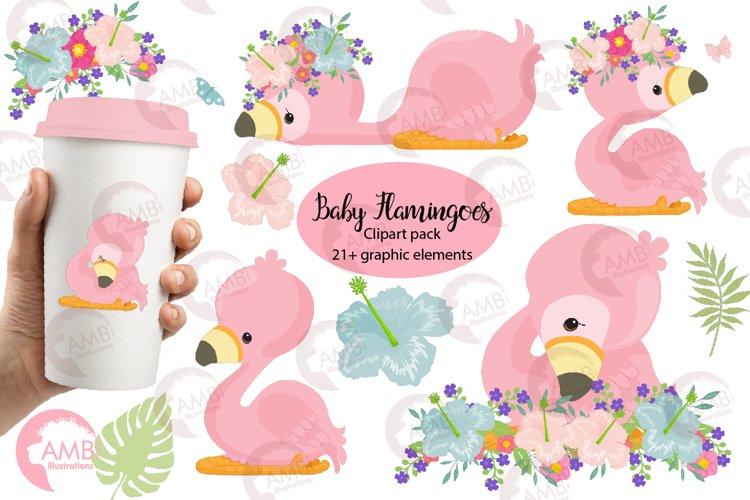 Flamingo clipart, baby flamingo clipart AMB-2470