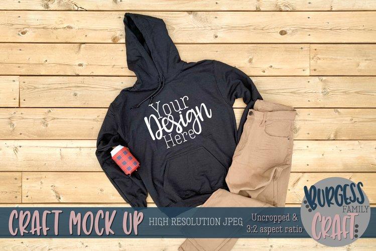 Mens black Gildan hoodie |Craft mock up example image 1