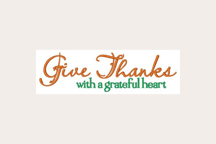 Give Thanks Grateful Heart - Machine Embroidery Design example image 1