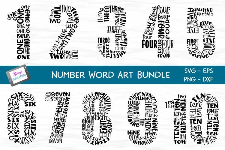 Number Bundle - 10 Milestone numbers - Word Art example image 1