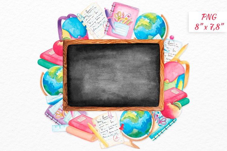 Blackboard clipart Back to school wreath Watercolor clipart example image 1