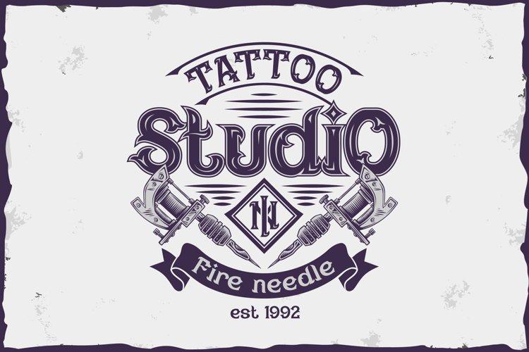 Fire needle -tattoo salon label font example 2