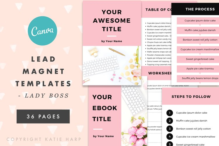 Canva Lead Magnet Templates for Lady Bosses - Blush Pink