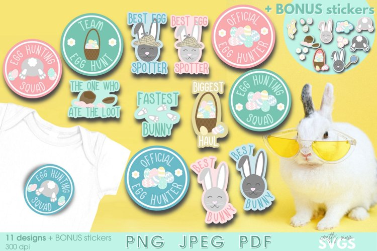 Easter Sticker Pack | Kids Egg Hunt PNGs with BONUS stickers