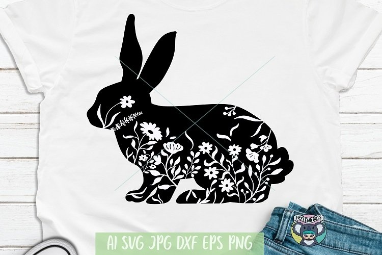 Bunny svg, Rabbit, Floral Bunny, Easter svg, Wildflower