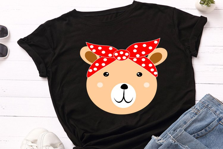 Cute bear animal face with red bandana svg file, example image 1