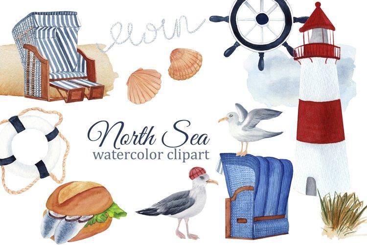 Nautical watercolor clipart, North Sea clipart