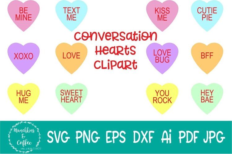 Conversation Hearts Clipart example image 1