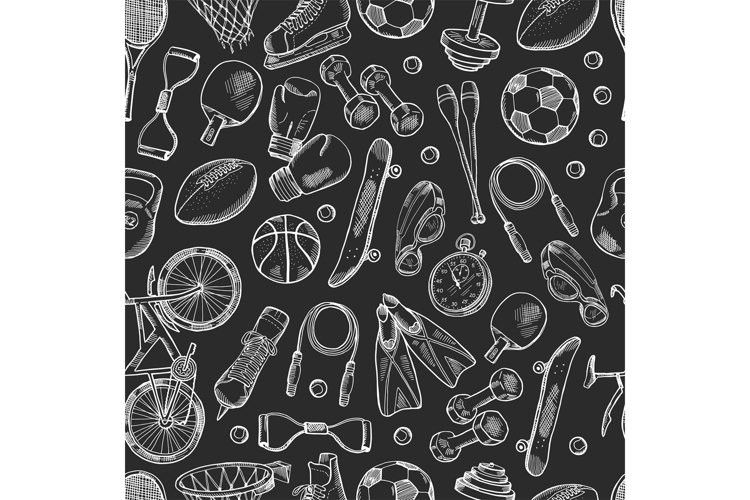 Vector hand drawn sports equipment pattern or chalkboard bac example image 1