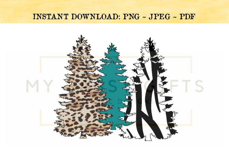 Merry Christmas Trees With Zebra and Leopard Print PNG example image 1