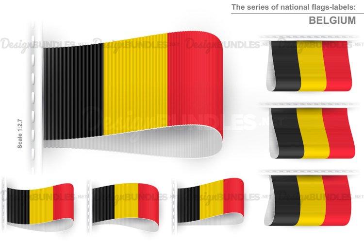 Vector Belgium Flag Tag Clothes Label Sticker Sewn Set