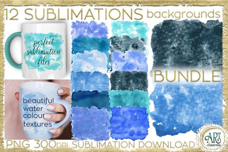Sublimation BUNDLE Blue Watercolor backgrounds textures PNG