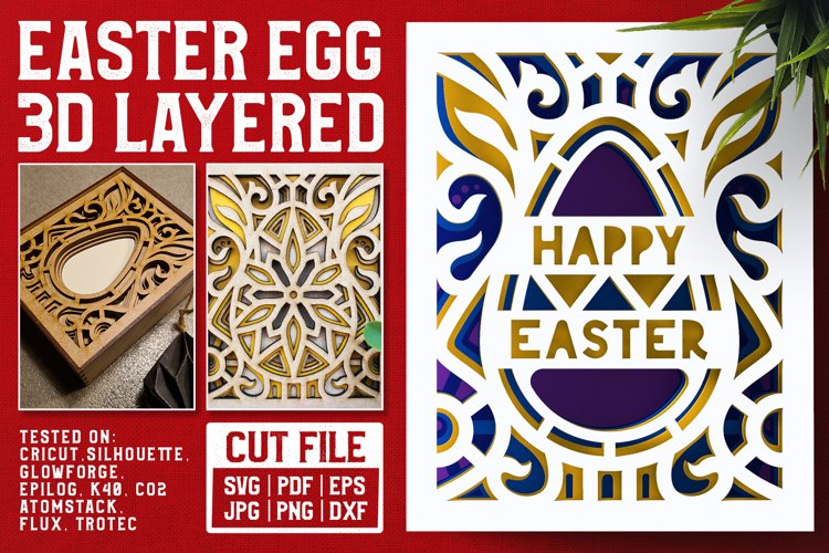 Easter Egg 3D Layered SVG Cut File example image 1