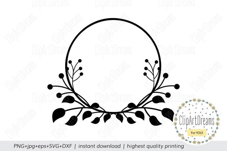Floral SVG Circle Floral Monogram Frame cutting file