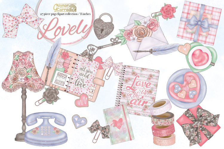 Lovely - Valentines planner Clipart collection - flatlay example image 1