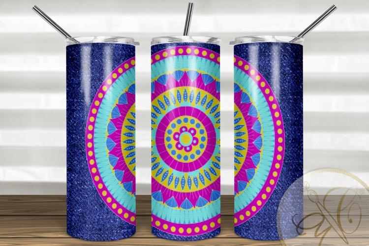 Denim and Mandala Skinny Tumbler Sublimation /Pink and Blue example image 1
