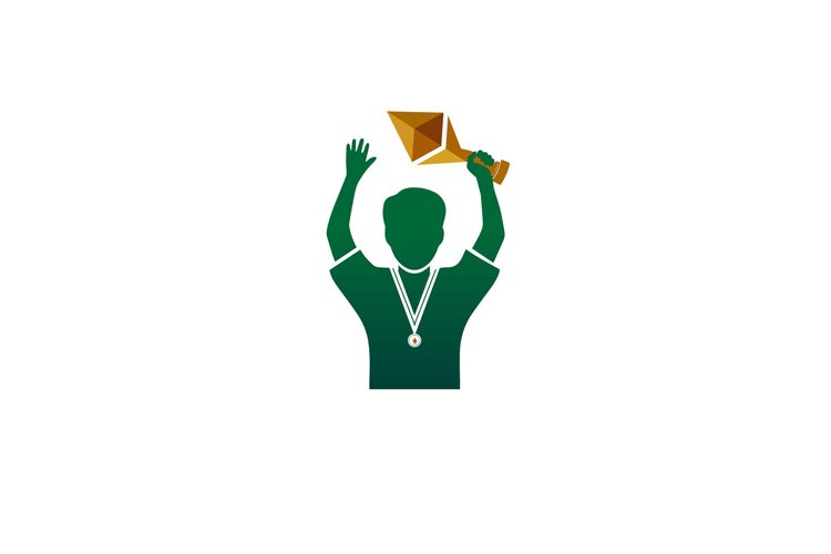 winner championship and get gold medal illustration green example image 1